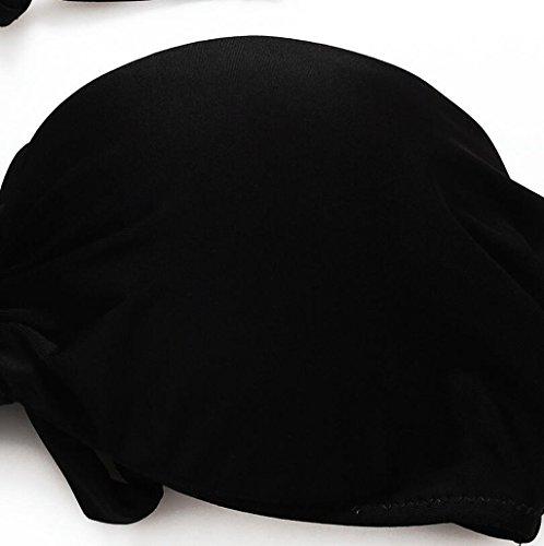 Traje de baño de las señoras Moda traje de baño de alta cintura Split bikini spa traje de baño playa de baño Bikini Negro