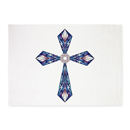 5' x 7' Area Rug Stained Glass Cross by Truly Teague