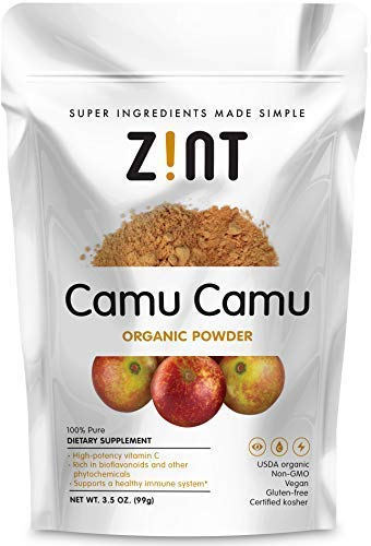 Zint Organic Camu Powder: Raw, Keto Certified, Paleo Friendly Camu Berry Fruit, Non-GMO, Vitamin C Superboost (3.5 oz)