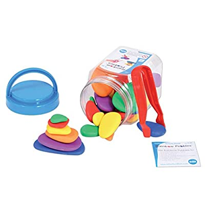 Edx Education Rainbow Pebbles - Mini Jar - Stacking Stones - Sorting, Counting and Construction Manipulative, Multicolored, 30 Pebbles + Activity Guide: Industrial & Scientific