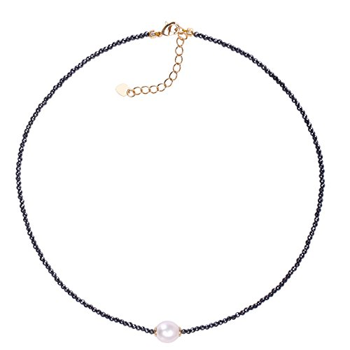 """AAA Single Freshwater Cultured Pearl Choker Necklace with Hematite Beads Handmade Jewelry for Women 16"""""""