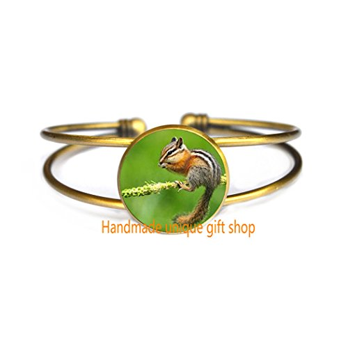 (Fashion Bracelet, Charm Bracelet, Dainty Bracelet,Chipmunk Bracelet - Eastern Chipmunk Jewelry Bracelets, Forest Animal Jewelry, Nature Bracelet, Woodland Animal Bracelet, Nature Jewelry Gift-RC319)