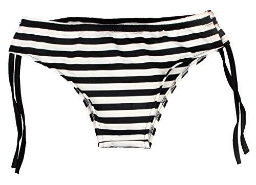 ZAIQUN Atractiva Mujeres Rayas Blanco y Negro Bikini Ropa de Playa Tankini Ba?ador de Ba?o Negro