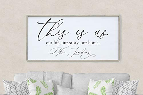 This Is Us Personalized Family Name Wall Art/Hand Painted Sign/Farmhouse Decor/Wall Decor/Home Decor/Modern Artwork/Large Framed Artwork