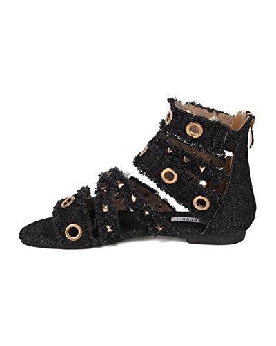 Cape Robbin Vrouwen Gladiator Sandaal - Verzwaarde Denim Sandaal - Spikes En Tule Platte Sandaal - Hk30 Door Zwart Denim