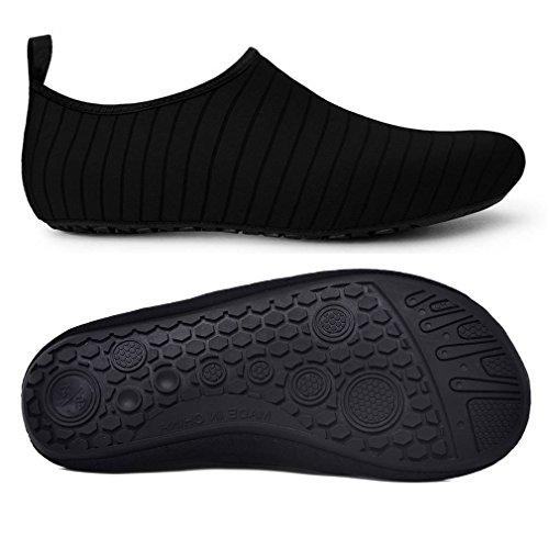 Adulto Negro Calcetines Piel Secado COMVIP Aqua de Yoga de Agua Hombres Barefoot rápido del Zapatos aqq6TRx