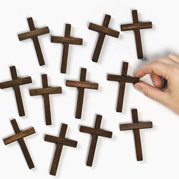 36 Small Wooden Crucifix Crosses