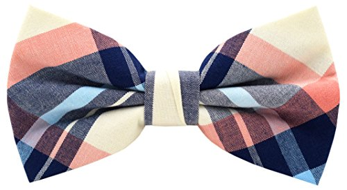 Carahere Mens 100% Cotton Color Plaid Adjustable Pre-Tied Bow Ties (M134-4)