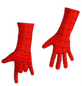Disguise Men's Marvel Spider-Man Adult Gloves Deluxe, Red/Black, One Size