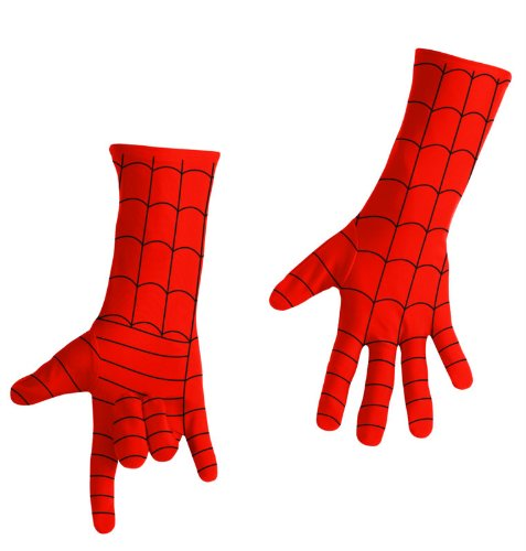 Disguise Men's Marvel Spider-Man Adult Gloves Deluxe, Red/Black, One Size (Mens Black Spiderman Costume)