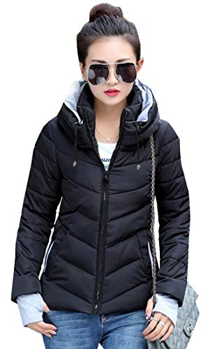 Women Black Puffer Coat Coat Insulated Hooded Synthetic EKU Jacket 8gvq8d