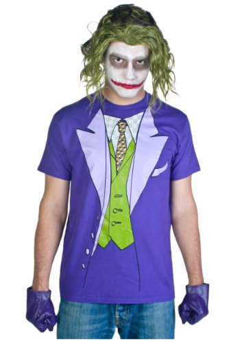 Bioworld Men's Dark Night Joker Tuxedo Tee, Purple, (Batwomen Costume)