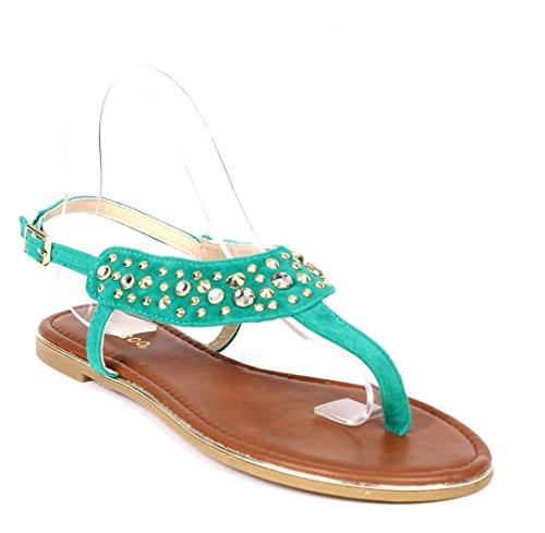 Gladiador De Bambú Moda Tobillo Correa Hebilla De Diamantes De Imitación Para Mujer Sandalias De Verano Zapatos Casuales Nuevo Sin Caja Esmeralda