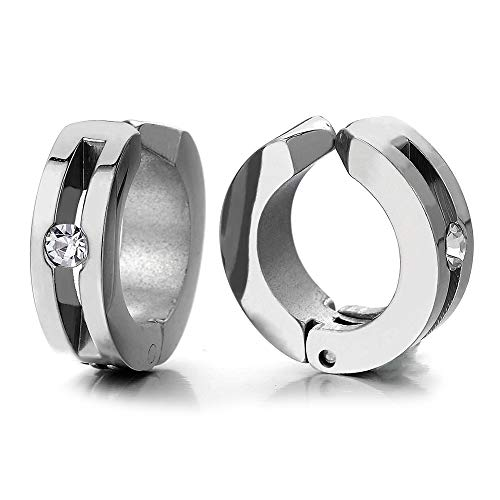 2pcs Huggie Hinged Hoop Earrings with Cubic Zirconia, Steel Non-Piercing Clip On Earrings for Men Women