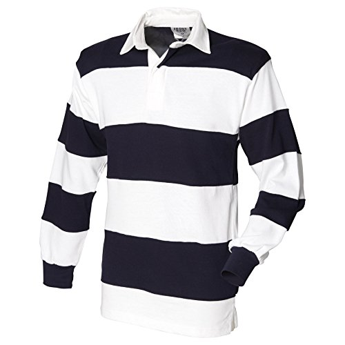 Front Row-Tops-Shirts-Sewn stripe long sleeve rugby shirt- (Stripe Shirt Sewn Rugby)