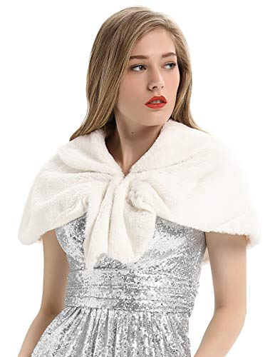 Faux Fur Shawls Wraps Wedding Coat for Women Girls Winter Stoles Wedding Cover Up(L,Ivory)