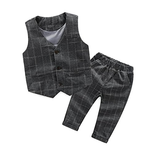 Gotd Kids Baby Boys Gentleman Suit Sets Plaid Vest Tops+Long Pants Outfits (3 Tall, Gray)