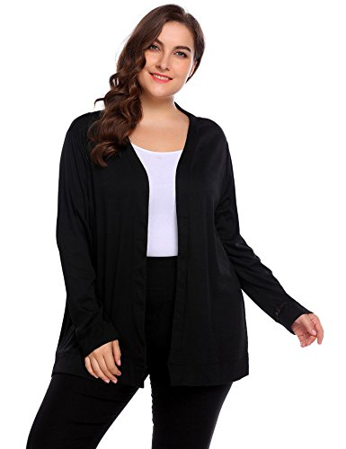 IN'VOLAND Women's Plus Size Elegant Lady Open Long Maxi Cardigan Casual Cardigans (16W, Black (Maternity Short Sleeve Sweater)
