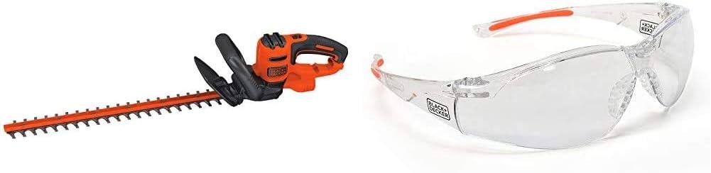 BLACK+DECKER Hedge Trimmer, 22-Inch with Safety Eyewear, Lightweight, Clear Lens (BEHT350FF & BD250-1C)