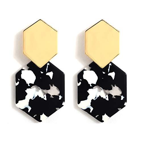 (Acrylic Resin Hoop Earrings - Tortoise Shell Earrings for Women Boho Jewelry, Great for Sister, Friends, Mom (Black))
