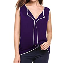 Meaneor Women's Cotton Sleeveless Shirt V-Neck Loose Blouse Tank Tops