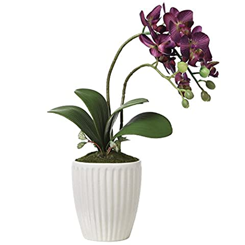 Decorative Artificial Purple Orchid Flower Arrangement in White Ribbed Ceramic Vase