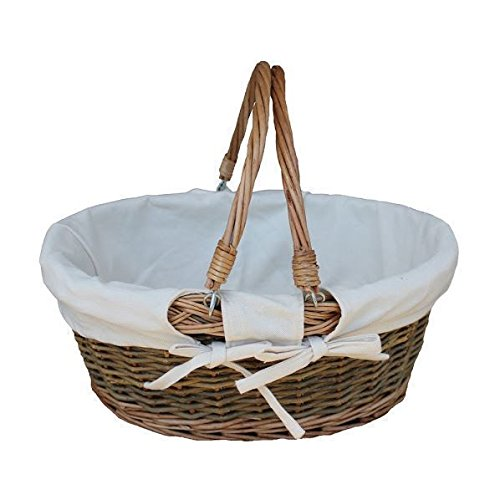 Country Swing Handle Wicker Shopping Basket with White Lining