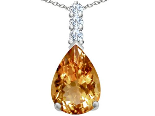 Pear Imperial (Star K Large 14x10mm Pear Shape Simulated Imperial Yellow Topaz Pendant Necklace Sterling Silver)