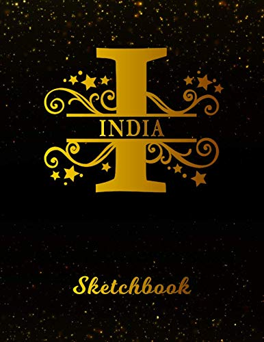 India Sketchbook: Letter I Personalized First Name Personal Drawing Sketch Book for Artists & Illustrators | Black Gold Space Glittery Effect Cover | ... & Art Workbook | Create & Learn to Draw (Best Gift For Mother In Law India)