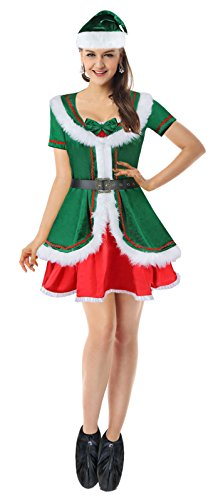 [Ecilu Women's Plus Size Cutie Holiday Honey Elf Helper Christmas Costume Green-Red X-Large] (Green And Red Elf Costumes)
