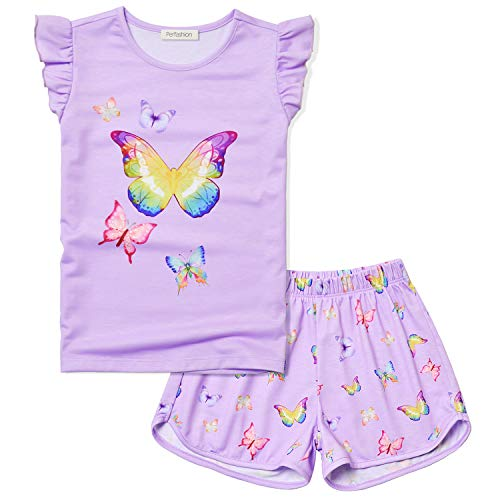 Butterfly Pajamas for Girls Purple Pjs Sets Shirt Summer 4t 5t]()