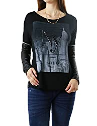 SOHO NY PRINT Faux Leather Sleeves Sweatshirt for Women