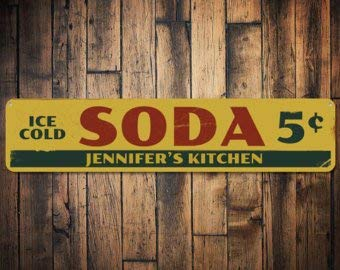 C B Signs L.E.D. Ice Cold Soda 5 Cents Sign, Personalized Chef Name Kitchen Sign, Custom Metal Kitchen Decor, Pop Lover Sign - Quality Aluminum