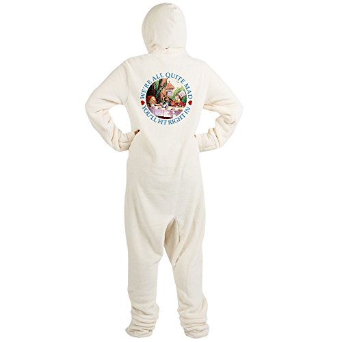 CafePress - ALICE_ Were All Mad_BLUE Copy.Png - Novelty Footed Pajamas, Funny Adult One-Piece PJ (Mad Hatter Fleece)