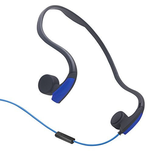EFFIE Bone Conduction Headphones Wired headphones with Microphone Stereo Open-Ear Sport Headphone with Noise Reduction Microphone (Blue)