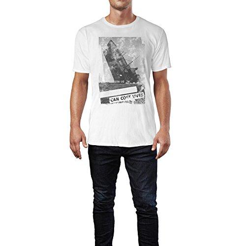SINUS ART® Sinking Ship Herren T-Shirts stilvolles weißes Fun Shirt mit tollen Aufdruck