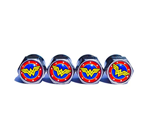 Wonder Woman Tire Valve Stem Caps - Chrome Surface - Set of Four (Style 1)
