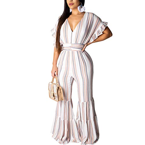 Desirepath Women Rompers and Jumpsuits Sexy V Neck Striped High Waist Wide Leg Pants White