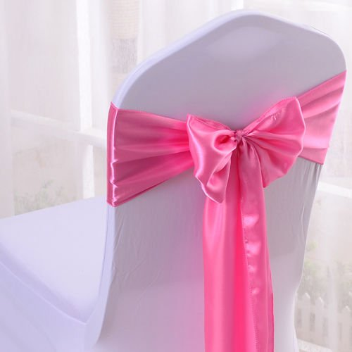 Set Of 10 Chair Decorative Satin Sashes Bow Designed For Wedding Events Banquet Home Kitchen Decoration (Pink) by Sarvam Fashion