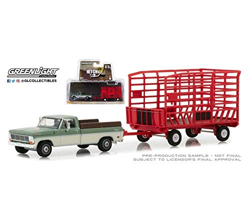 (1:64 Love Gift 15 1969 F0rd F-100 Truck & RED Throw HAY Wagon NIP Rare Diecast Vehicle Car)