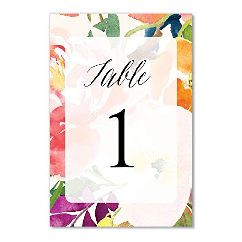 Red Tropical Table Numbers Watercolor Floral Pack of 25 Single Sided 4