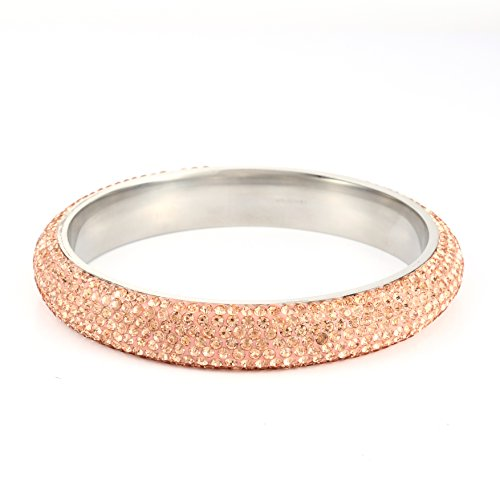 800 Champagne (Stainless Steel Rhinestone bangle bracelet For Women – Champagne gold 209mm SIZE 8 - Paved with Swarovski Crystal Elements - Ideal for Bridal Wedding, Prom, Party)