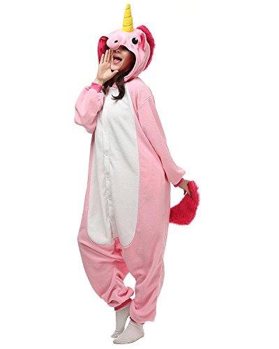 [Adult Onesies Pink Unicorn Pajamas Onesie for Women Men Costume Cosplay Partywear Halloween Large] (Animal Costumes Coupon Code)