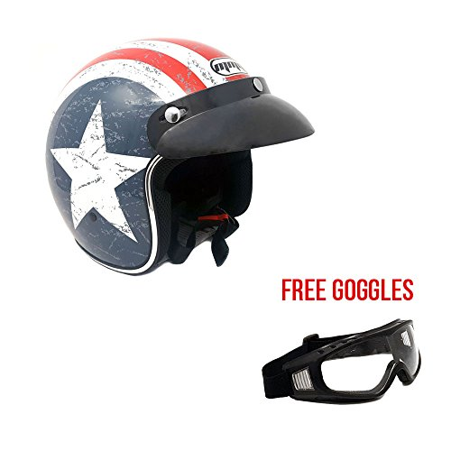 Motorcycle Cruiser 3/4 Shell Open Face Helmet Snap-On Visor - Stars and Stripes American Patriot (Small) + Free Goggles