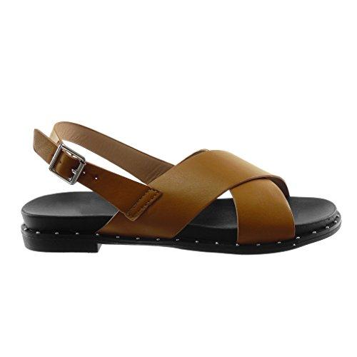 Cm incrociati Tacco perizoma Cinturini Cinturini Cinturino caviglia largo Moda Scarpe alla 5 Cammello Angkorly Donna Sandali 2 C4pUwqHq