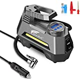 HAUSBELL Portable air Compressor for Car Tires, 12V DC Air Compressor tire inflator Pump, 150 PSI with Emergency LED Flashlight for Car, Motorcycles, Bicycles,Inflatables