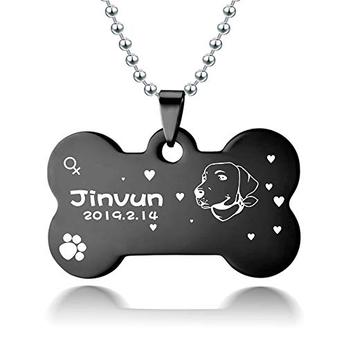 Jinvun Dog Tags for Dogs Engraved | Stainless Steel Pet Id Tags, Personalized Dog Tags | [ New Version ] [ Dog Head Portrait ] (Large, Black)