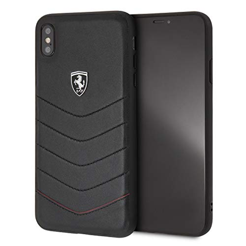 CG Mobile iPhone Xs Max Ferrari Cell Phone Case, Heritage Collection Genuine Quilted Leather Black Hard Case with Easily Accessible Ports and Metallic Painting Casing (Logo Für Ferrari)