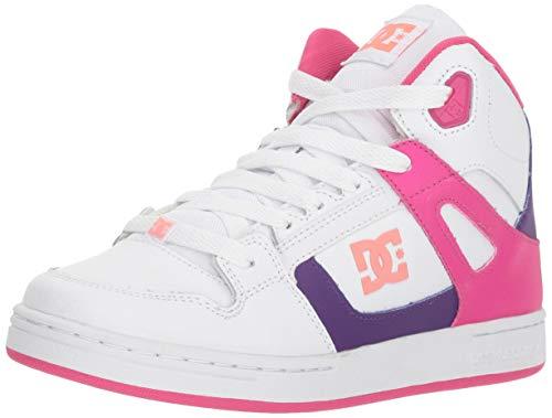 DC Girls' Pure HIGH-TOP SE Skate Shoe, White/Multi, 1 M M US Little Kid ()