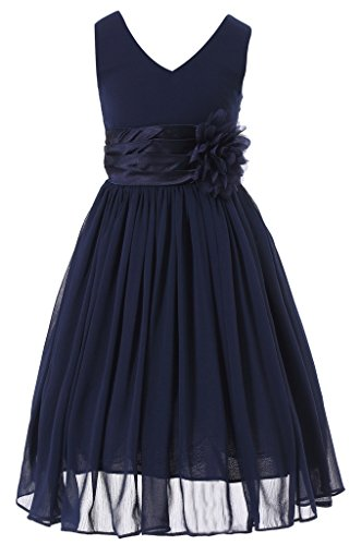 (Bow Dream Flower Girl Dress Junior Bridesmaids V-Neckline Chiffon Navy Blue)